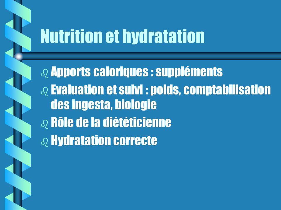 Nutrition et hydratation b Apports caloriques : suppléments b Evaluation et suivi : poids, comptabilisation des ingesta, biologie b Rôle de la diététicienne b Hydratation correcte
