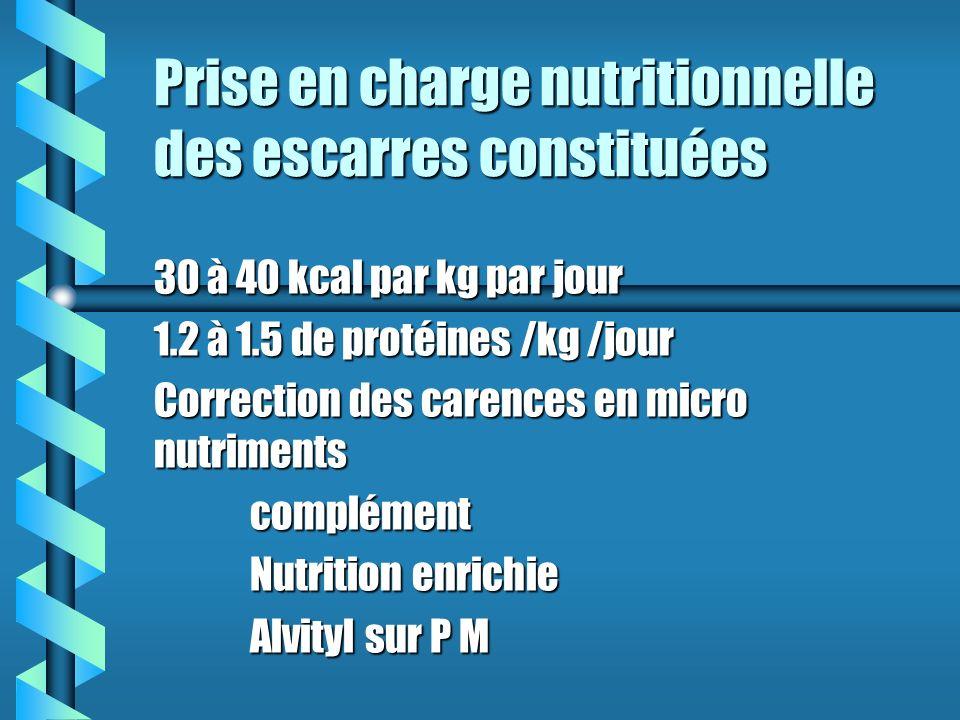 Prise en charge nutritionnelle des escarres constituées 30 à 40 kcal par kg par jour 1.2 à 1.5 de protéines /kg /jour Correction des carences en micro nutriments complément Nutrition enrichie Alvityl sur P M
