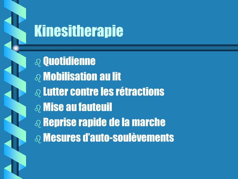 Kinesitherapie b Quotidienne b Mobilisation au lit b Lutter contre les rétractions b Mise au fauteuil b Reprise rapide de la marche b Mesures dauto-soulèvements