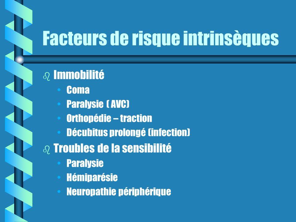 Facteurs de risque intrinsèques b b Immobilité Coma Paralysie ( AVC) Orthopédie – traction Décubitus prolongé (infection) b b Troubles de la sensibilité Paralysie Hémiparésie Neuropathie périphérique