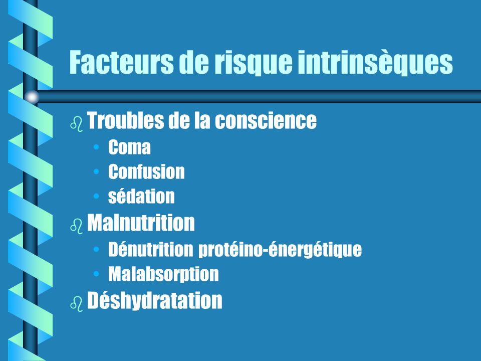 Facteurs de risque intrinsèques b b Troubles de la conscience Coma Confusion sédation b b Malnutrition Dénutrition protéino-énergétique Malabsorption b b Déshydratation