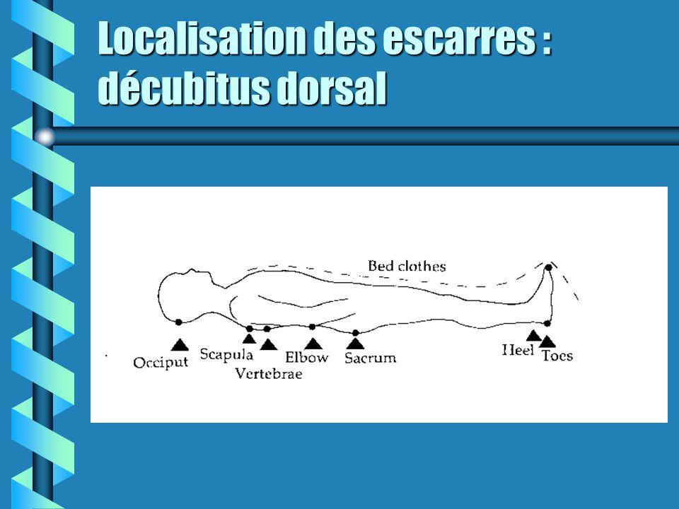 Localisation des escarres : décubitus dorsal