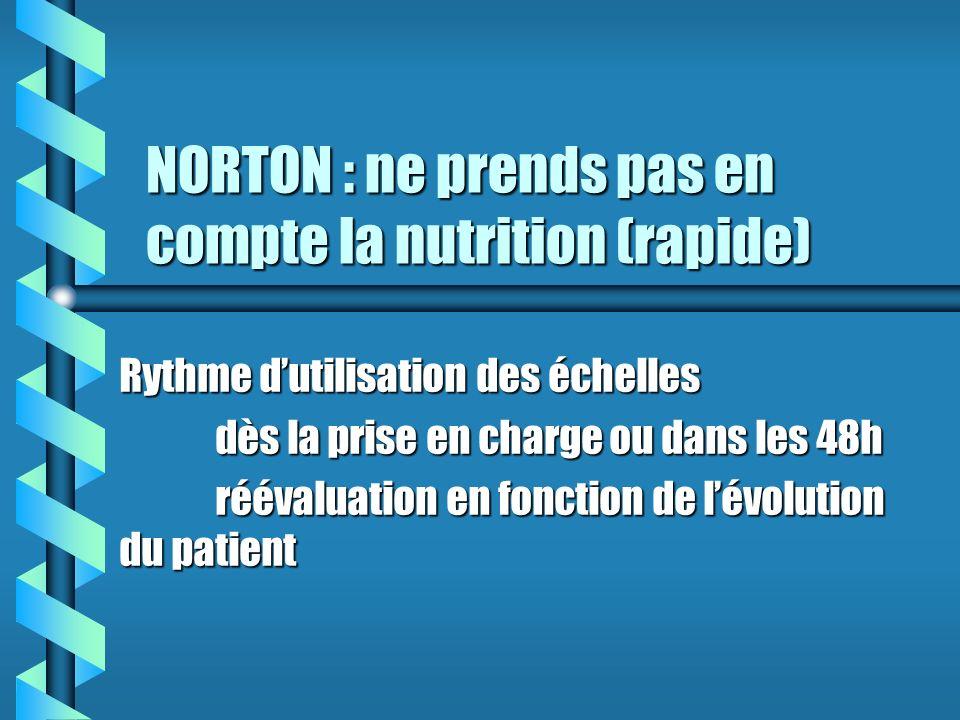 NORTON : ne prends pas en compte la nutrition (rapide) Rythme dutilisation des échelles dès la prise en charge ou dans les 48h réévaluation en fonction de lévolution du patient