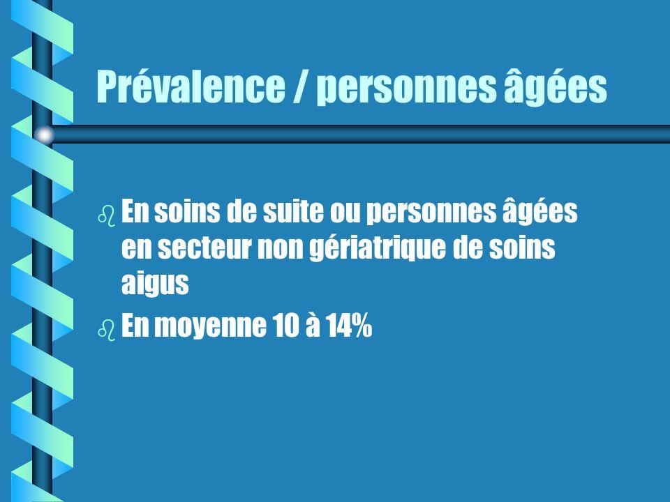 Prévalence / personnes âgées b b En soins de suite ou personnes âgées en secteur non gériatrique de soins aigus b b En moyenne 10 à 14%