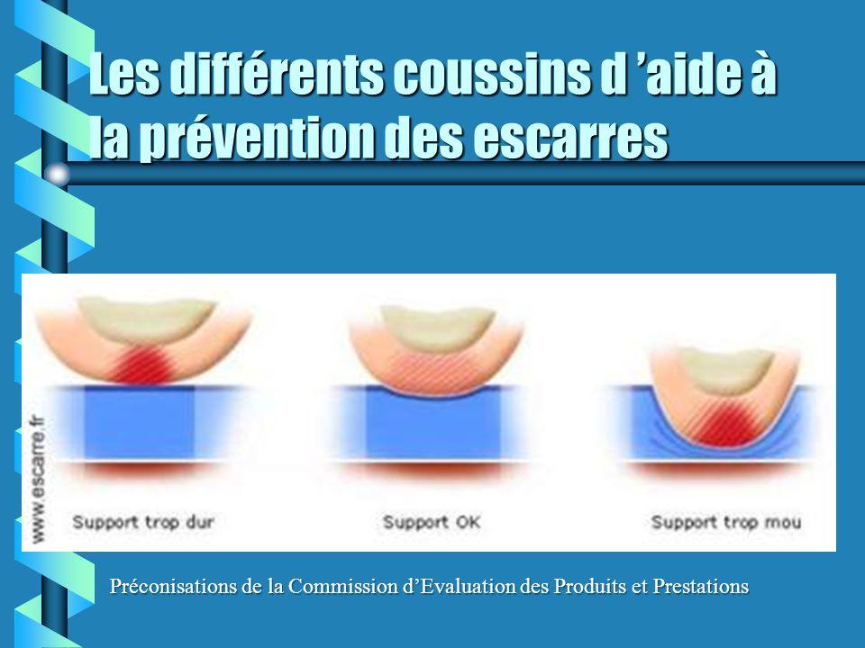 Les différents coussins d aide à la prévention des escarres Préconisations de la Commission dEvaluation des Produits et Prestations