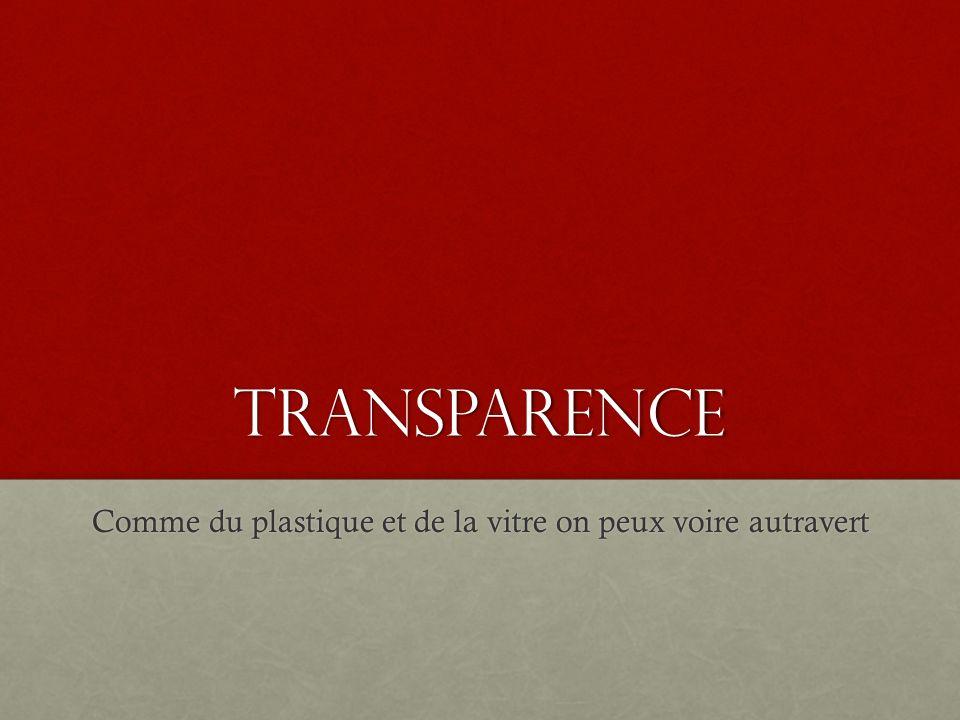transparence Comme du plastique et de la vitre on peux voire autravert