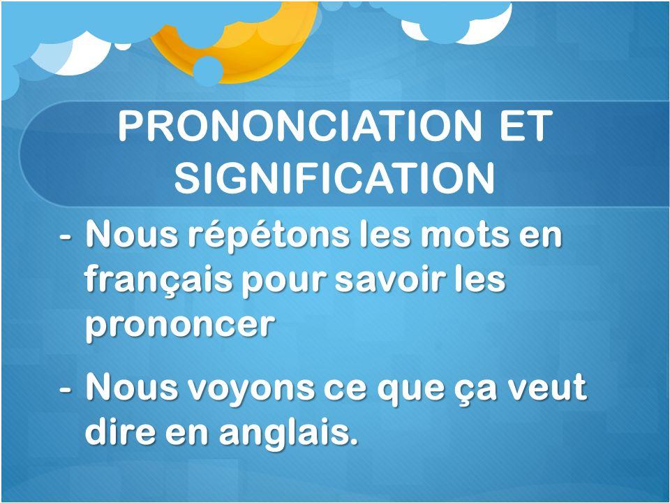 PRONONCIATION ET SIGNIFICATION -Nous répétons les mots en français pour savoir les prononcer -Nous voyons ce que ça veut dire en anglais.