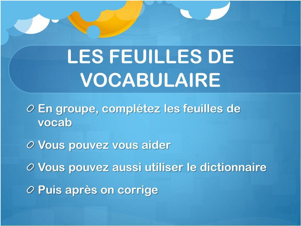 LES FEUILLES DE VOCABULAIRE En groupe, complétez les feuilles de vocab Vous pouvez vous aider Vous pouvez aussi utiliser le dictionnaire Puis après on