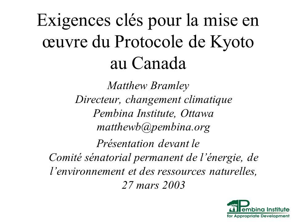 Exigences clés pour la mise en œuvre du Protocole de Kyoto au Canada Matthew Bramley Directeur, changement climatique Pembina Institute, Ottawa matthewb@pembina.org Présentation devant le Comité sénatorial permanent de lénergie, de lenvironnement et des ressources naturelles, 27 mars 2003