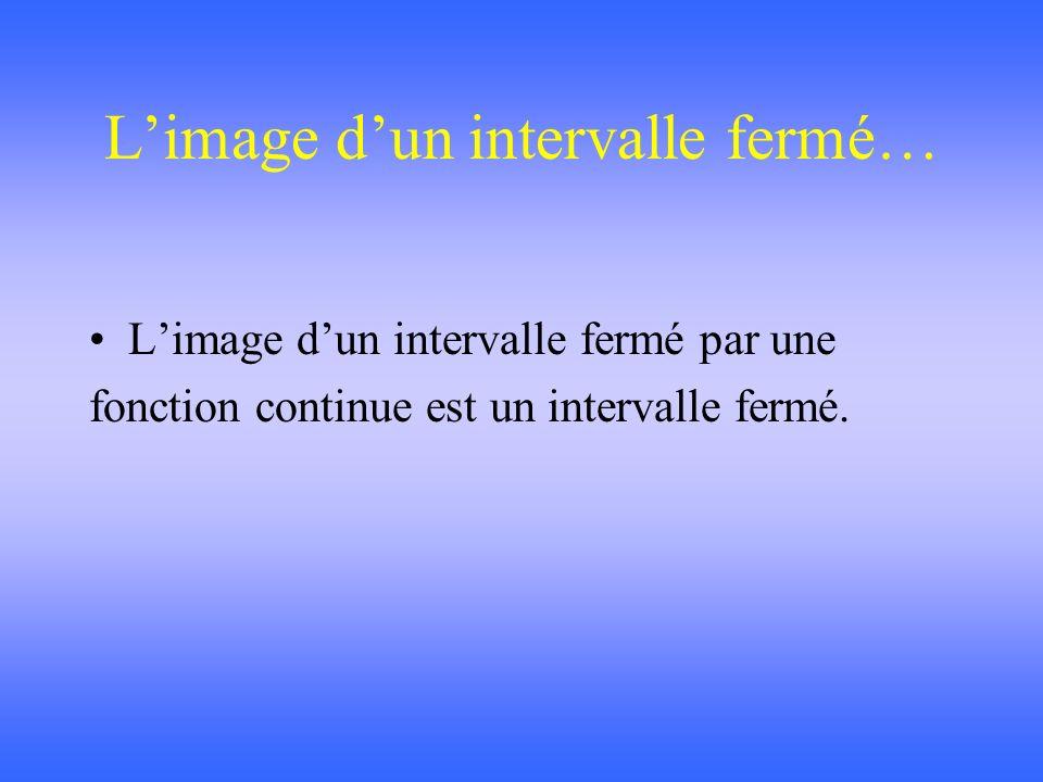Limage dun intervalle fermé… Limage dun intervalle fermé par une fonction continue est un intervalle fermé.