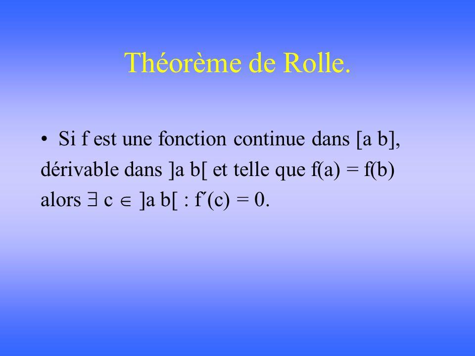 Théorème des accroissements finis de Lagrange. Si f est une fonction continue dans [a b] et dérivable dans ]a b[, alors c ]a b[ : f´(c) =