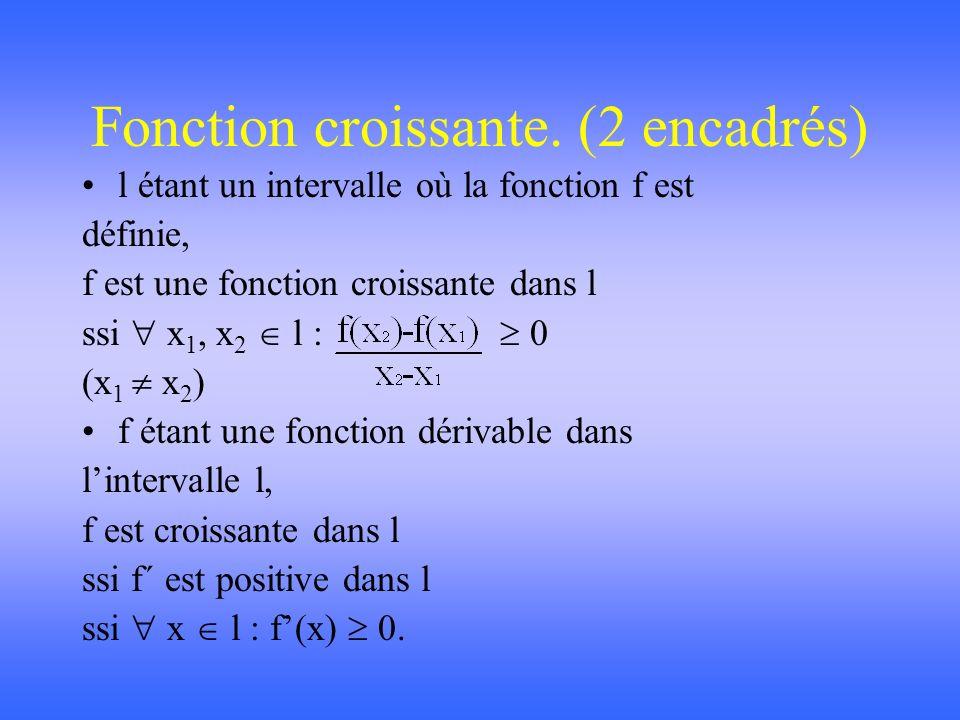 Théorème de Rolle. Si f est une fonction continue dans [a b], dérivable dans ]a b[ et telle que f(a) = f(b) alors c ]a b[ : f´(c) = 0.
