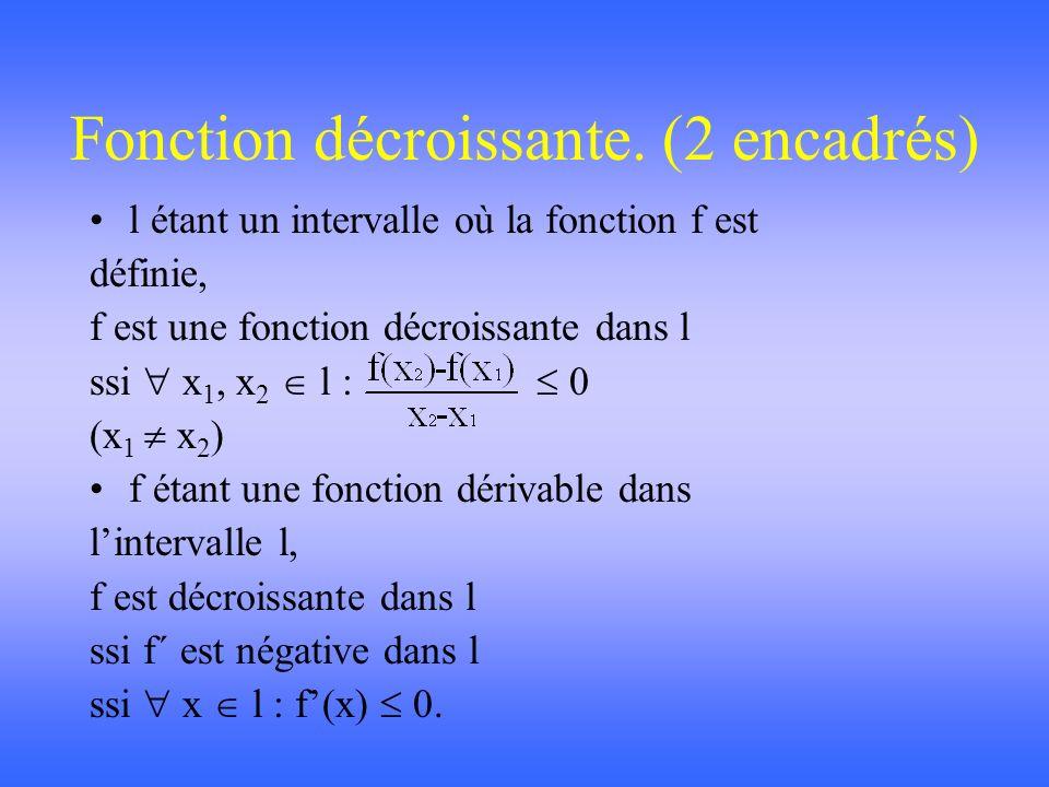 Fonction croissante. (2 encadrés) l étant un intervalle où la fonction f est définie, f est une fonction croissante dans l ssi x 1, x 2 l : 0 (x 1 x 2