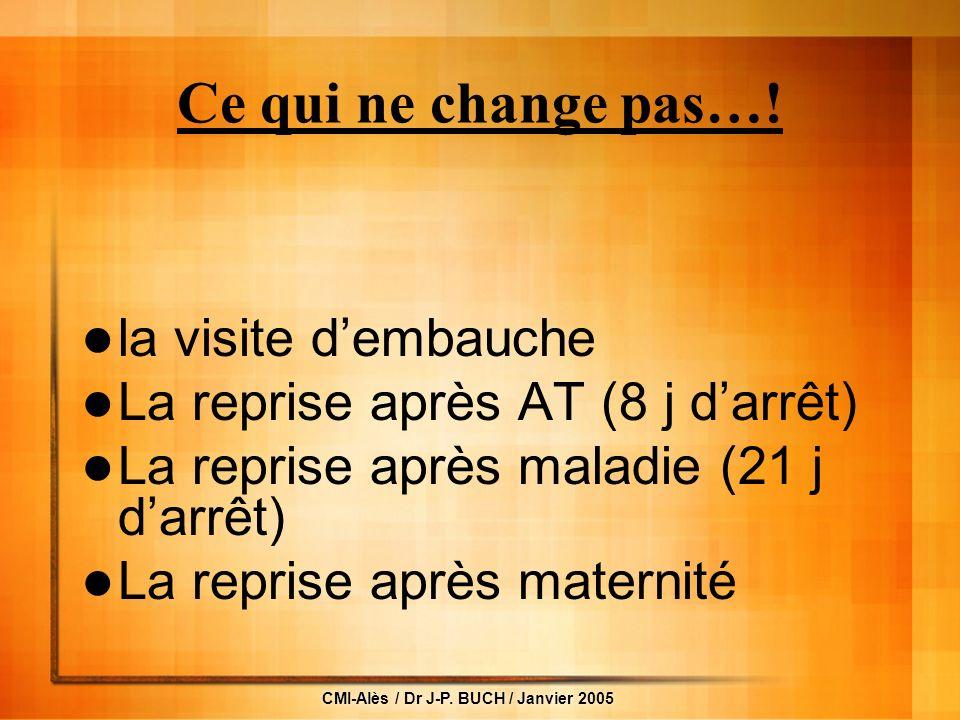 CMI-Alès / Dr J-P.BUCH / Janvier 2005 Ce qui ne change pas….