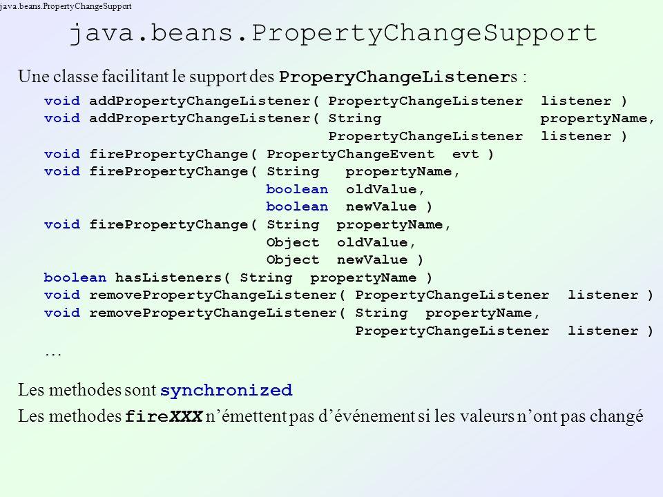 java.beans.PropertyChangeSupport Une classe facilitant le support des ProperyChangeListener s : void addPropertyChangeListener( PropertyChangeListener listener ) void addPropertyChangeListener( String propertyName, PropertyChangeListener listener ) void firePropertyChange( PropertyChangeEvent evt ) void firePropertyChange( String propertyName, boolean oldValue, boolean newValue ) void firePropertyChange( String propertyName, Object oldValue, Object newValue ) boolean hasListeners( String propertyName ) void removePropertyChangeListener( PropertyChangeListener listener ) void removePropertyChangeListener( String propertyName, PropertyChangeListener listener ) … Les methodes sont synchronized Les methodes fireXXX némettent pas dévénement si les valeurs nont pas changé
