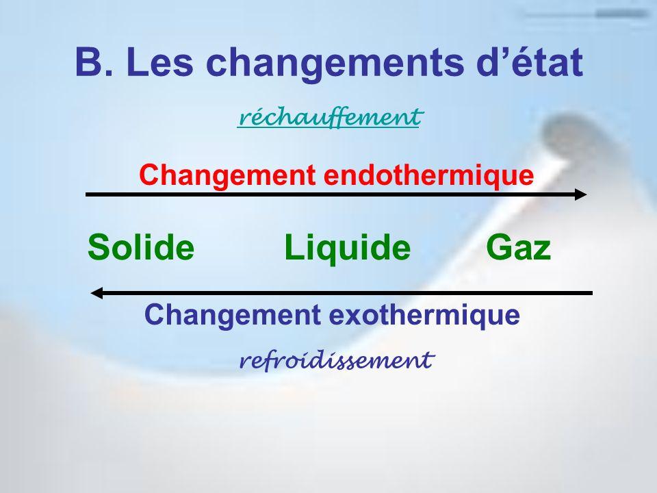 B. Les changements détat GazLiquideSolide réchauffement refroidissement Changement endothermique Changement exothermique