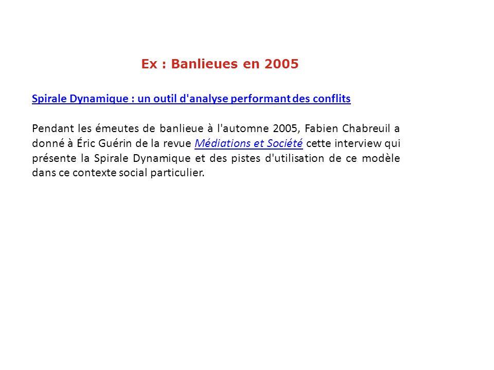 Ex : Banlieues en 2005 Spirale Dynamique : un outil d'analyse performant des conflits Pendant les émeutes de banlieue à l'automne 2005, Fabien Chabreu