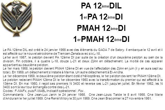Le PA 12ème DIL est créé le 24 janvier 1956 avec des éléments du GAOA 7 de Satory. Il embarque le 12 avril et il est affecté sur le nouvel aérodrome d