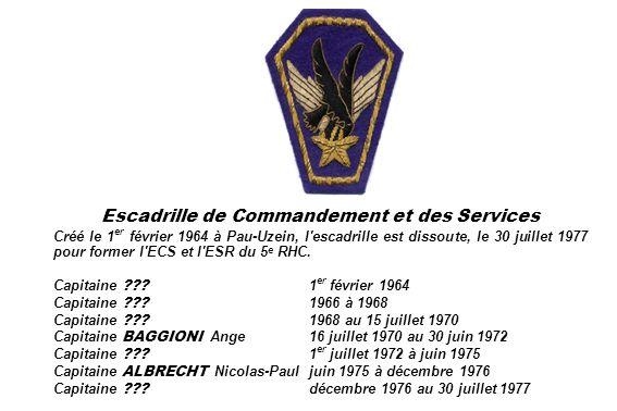 Escadrille de Commandement et des Services Créé le 1 er février 1964 à Pau-Uzein, l'escadrille est dissoute, le 30 juillet 1977 pour former l'ECS et l