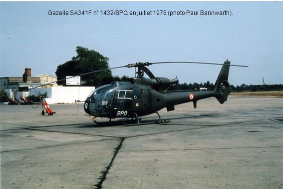 Gazelle SA341F n° 1432/BPQ en juillet 1976 (photo Paul Bannwarth).