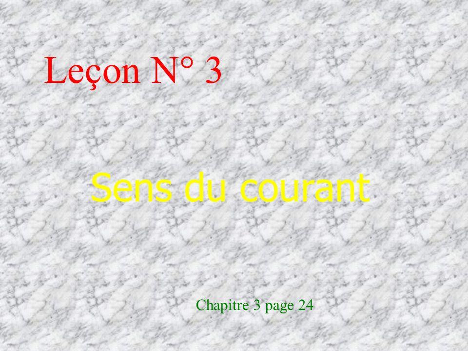 Leçon N° 3 Sens du courant Chapitre 3 page 24