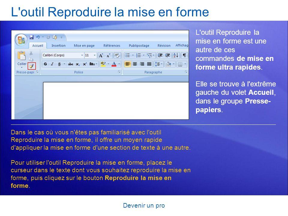 Devenir un pro L'outil Reproduire la mise en forme L'outil Reproduire la mise en forme est une autre de ces commandes de mise en forme ultra rapides.