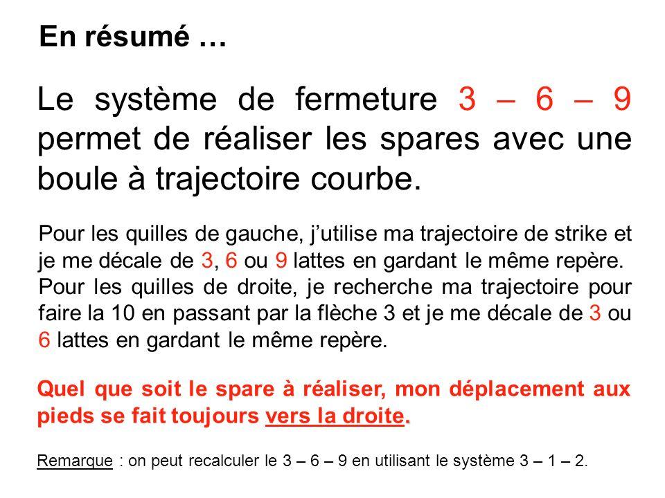 En résumé … Le système de fermeture 3 – 6 – 9 permet de réaliser les spares avec une boule à trajectoire courbe. Pour les quilles de gauche, jutilise