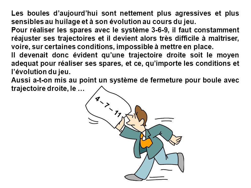 Les boules daujourdhui sont nettement plus agressives et plus sensibles au huilage et à son évolution au cours du jeu.