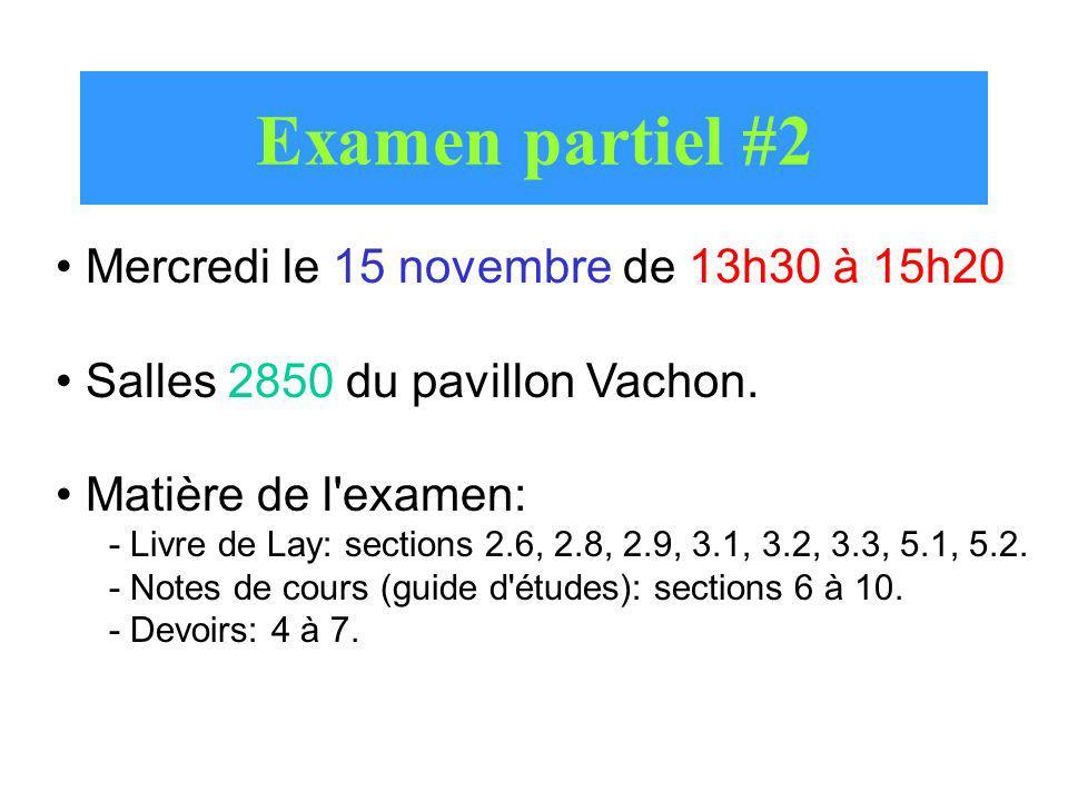Examen partiel #2 Mercredi le 15 novembre de 13h30 à 15h20 Salles 2850 du pavillon Vachon. Matière de l'examen: - Livre de Lay: sections 2.6, 2.8, 2.9