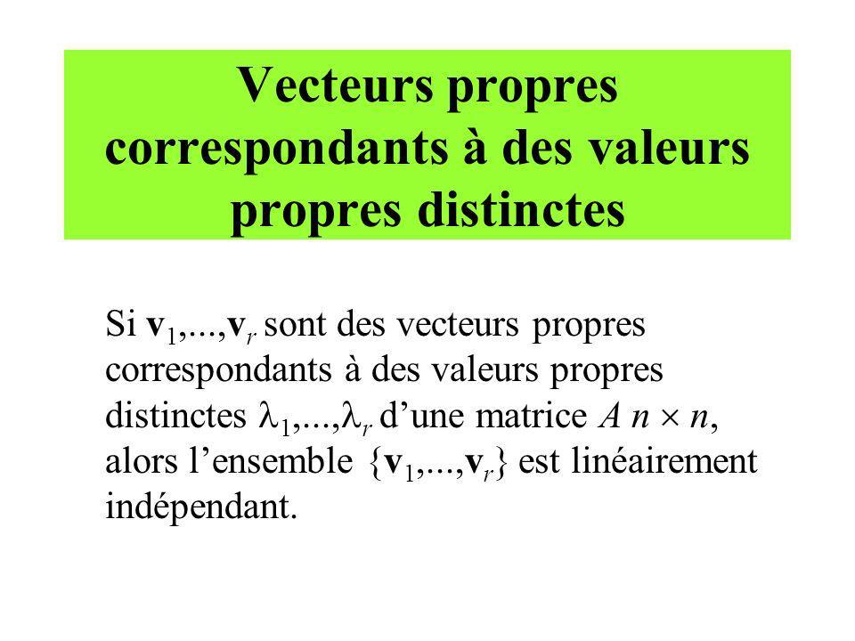 Vecteurs propres correspondants à des valeurs propres distinctes Si v 1,...,v r sont des vecteurs propres correspondants à des valeurs propres distinc