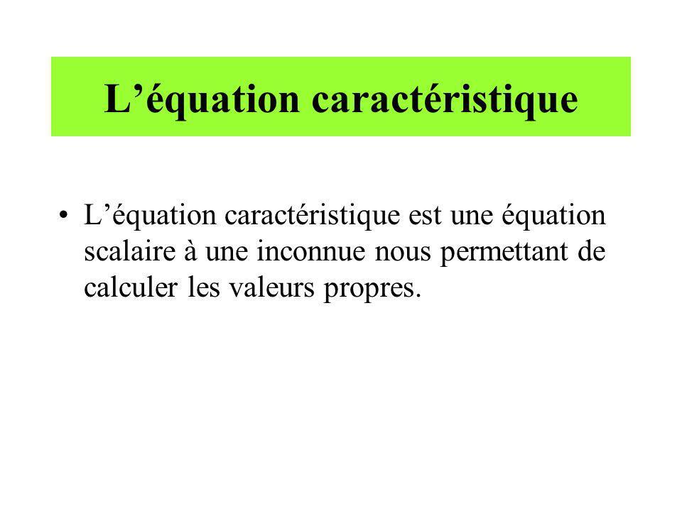 Léquation caractéristique Léquation caractéristique est une équation scalaire à une inconnue nous permettant de calculer les valeurs propres.