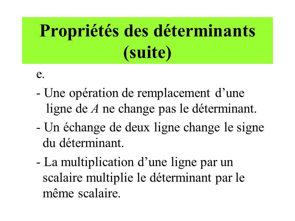 Propriétés des déterminants (suite) e. - Une opération de remplacement dune ligne de A ne change pas le déterminant. - Un échange de deux ligne change