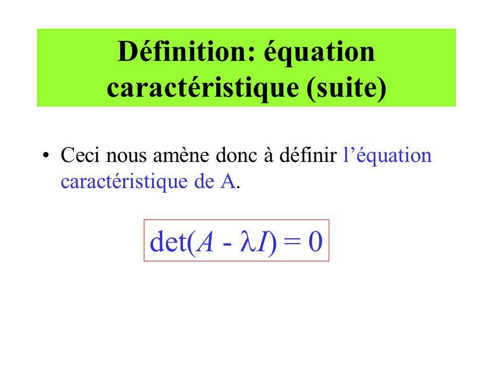 Définition: équation caractéristique (suite) Ceci nous amène donc à définir léquation caractéristique de A. det(A - I) = 0