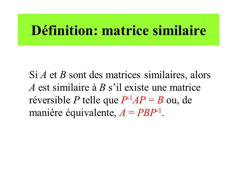 Définition: matrice similaire Si A et B sont des matrices similaires, alors A est similaire à B sil existe une matrice réversible P telle que P -1 AP