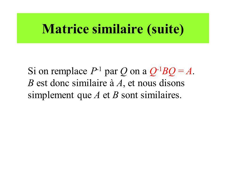 Matrice similaire (suite) Si on remplace P -1 par Q on a Q -1 BQ = A. B est donc similaire à A, et nous disons simplement que A et B sont similaires.