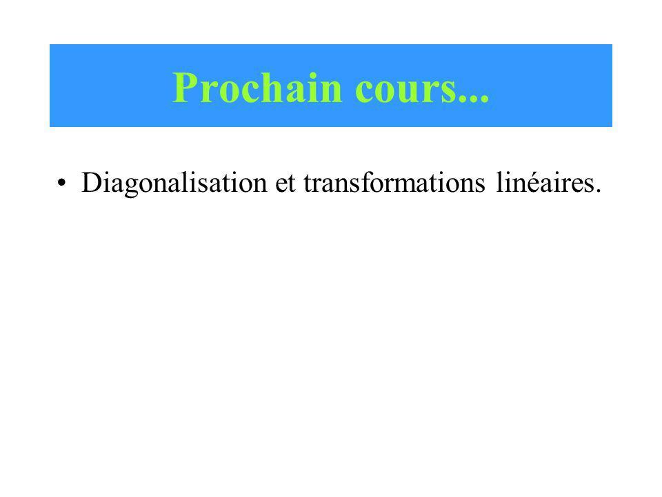 Prochain cours... Diagonalisation et transformations linéaires.