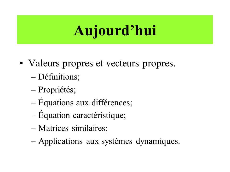 Aujourdhui Valeurs propres et vecteurs propres. –Définitions; –Propriétés; –Équations aux différences; –Équation caractéristique; –Matrices similaires