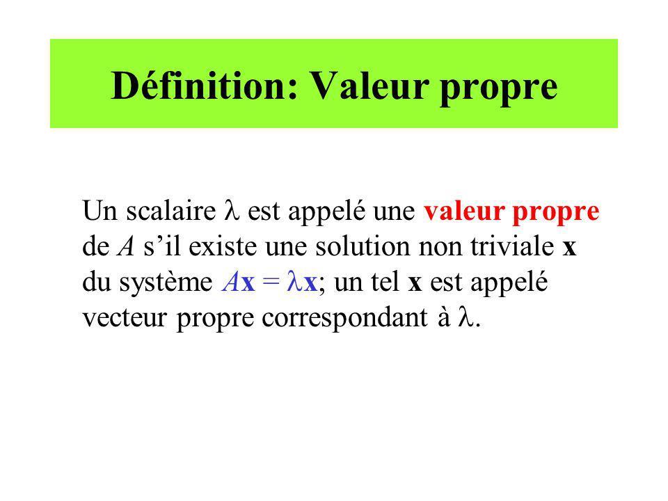 Définition: Valeur propre Un scalaire est appelé une valeur propre de A sil existe une solution non triviale x du système Ax = x; un tel x est appelé