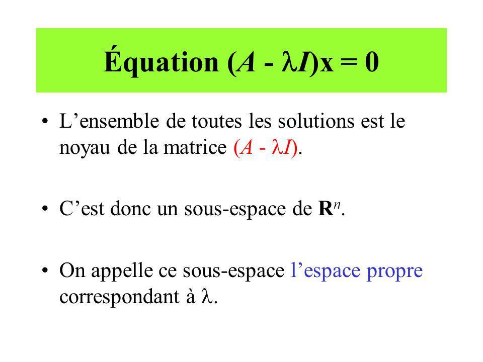 Équation (A - I)x = 0 Lensemble de toutes les solutions est le noyau de la matrice (A - I). Cest donc un sous-espace de R n. On appelle ce sous-espace