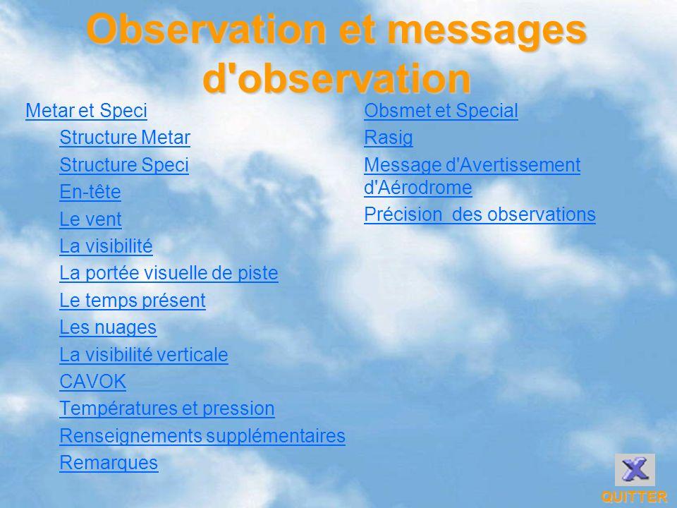 Observation et messages d'observation Metar et Speci Structure Metar Structure Speci En-tête Le vent La visibilité La portée visuelle de piste Le temp