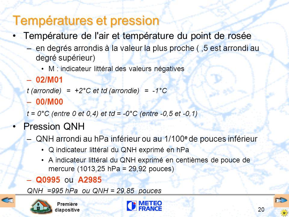 Première diapositive 20 Températures et pression Température de l'air et température du point de rosée –en degrés arrondis à la valeur la plus proche