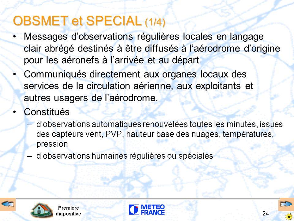 Première diapositive 24 OBSMET et SPECIAL (1/4) Messages dobservations régulières locales en langage clair abrégé destinés à être diffusés à laérodrom