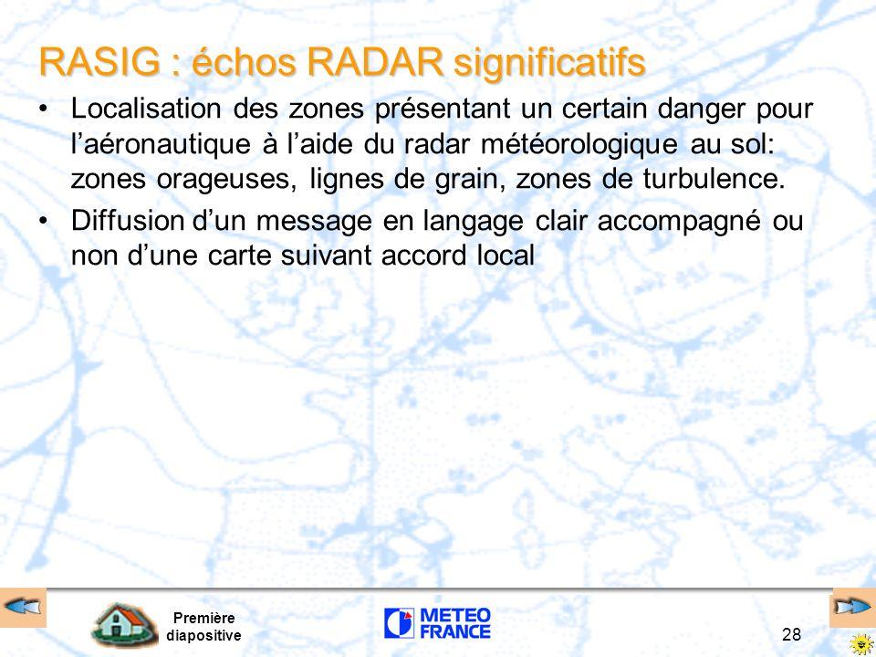 Première diapositive 28 RASIG : échos RADAR significatifs Localisation des zones présentant un certain danger pour laéronautique à laide du radar mété