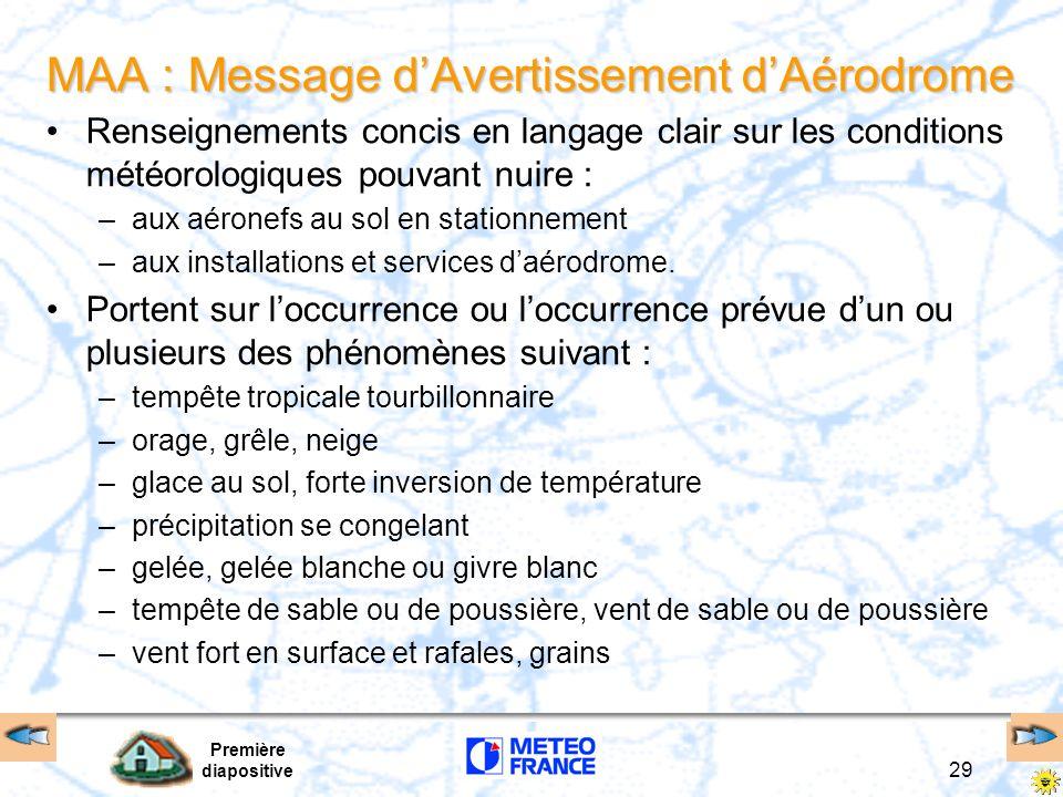 Première diapositive 29 MAA : Message dAvertissement dAérodrome Renseignements concis en langage clair sur les conditions météorologiques pouvant nuir