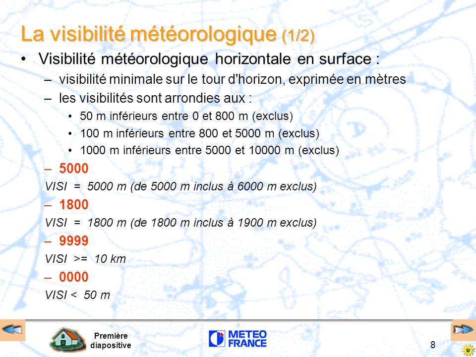 Première diapositive 8 La visibilité météorologique (1/2) Visibilité météorologique horizontale en surface : –visibilité minimale sur le tour d'horizo