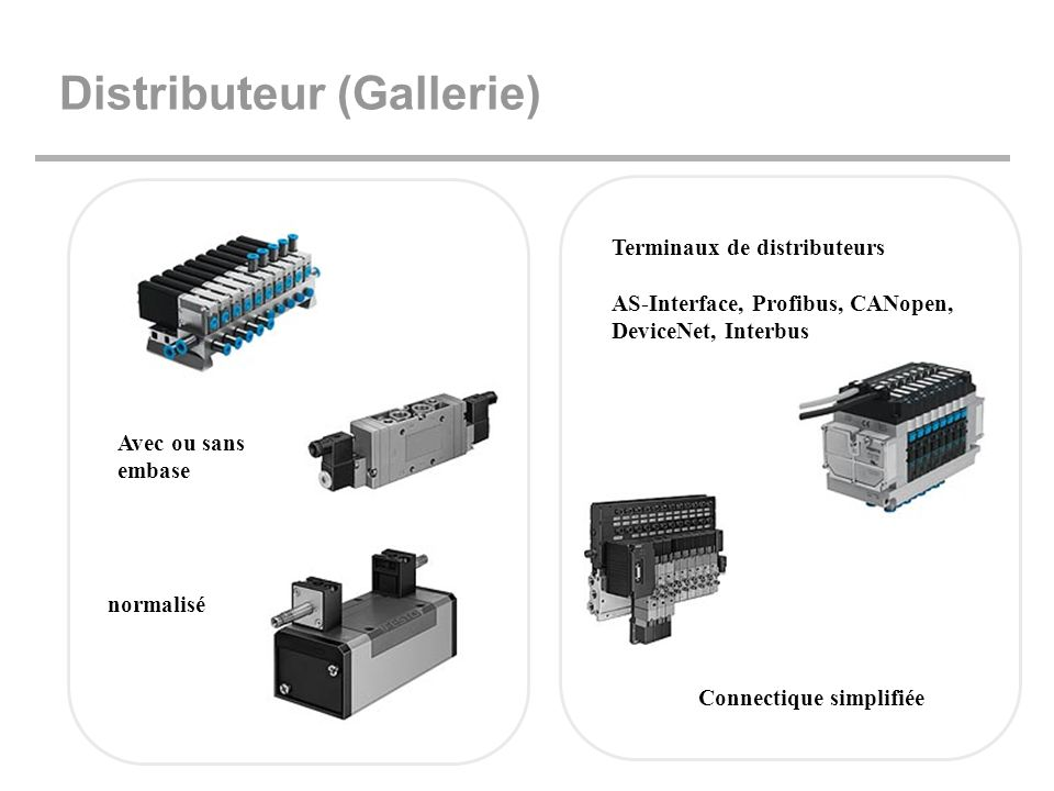 Distributeur (Gallerie) Terminaux de distributeurs AS-Interface, Profibus, CANopen, DeviceNet, Interbus Connectique simplifiée normalisé Avec ou sans