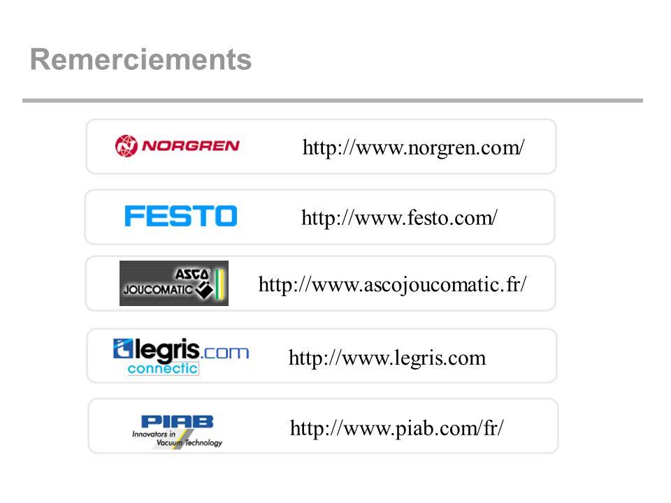 Remerciements http://www.norgren.com/ http://www.festo.com/ http://www.ascojoucomatic.fr/ http://www.legris.com http://www.piab.com/fr/