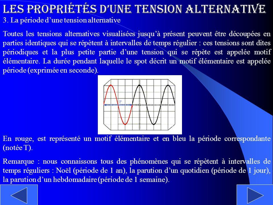 Les propriétés dune tension alternative 3. La période dune tension alternative Toutes les tensions alternatives visualisées jusquà présent peuvent êtr