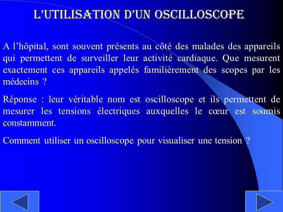 Lutilisation dun Oscilloscope A lhôpital, sont souvent présents au côté des malades des appareils qui permettent de surveiller leur activité cardiaque