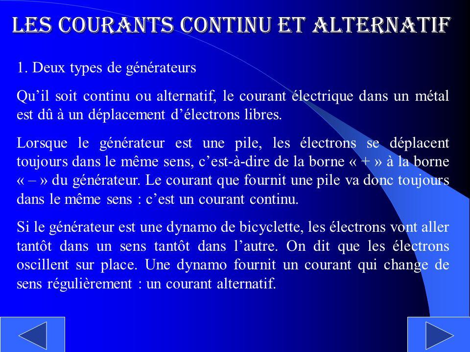 Les courants continu et alternatif 1. Deux types de générateurs Quil soit continu ou alternatif, le courant électrique dans un métal est dû à un dépla